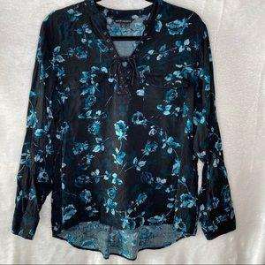 Rock & Republic Floral Tie Long Sleeve Shirt XL